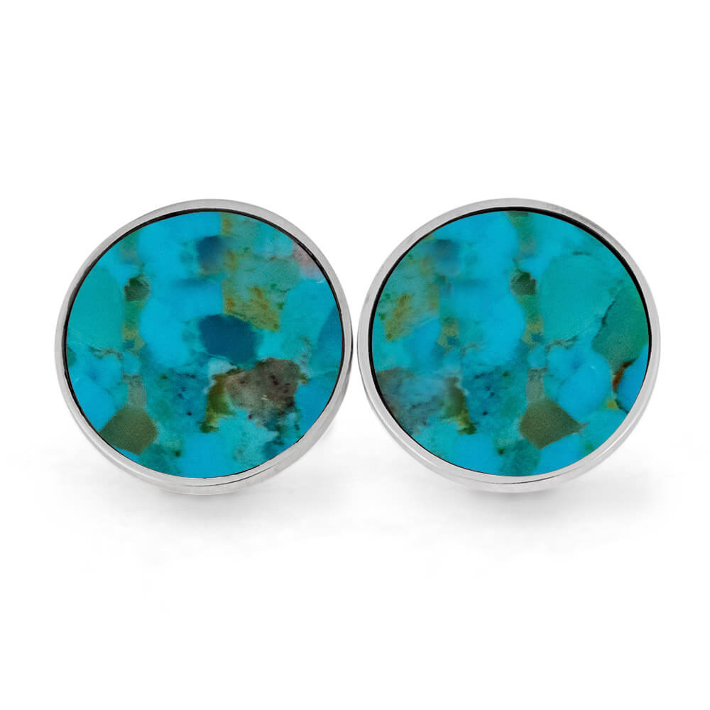 Round, Genuine Turquoise Cuff Links, In Stock-SIG3043 - Jewelry by Johan