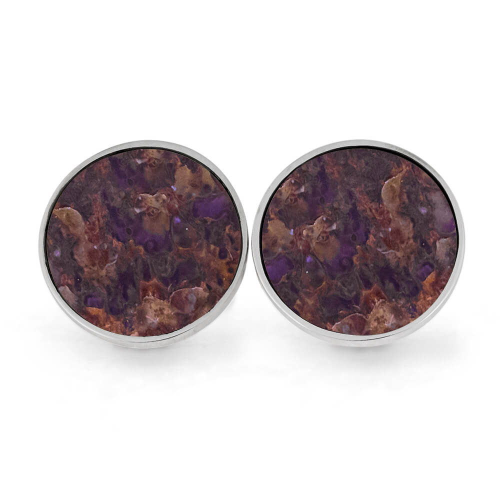 Round Cuff Links with Fossilized Dinosaur Bone, In Stock-SIG3045 - Jewelry by Johan