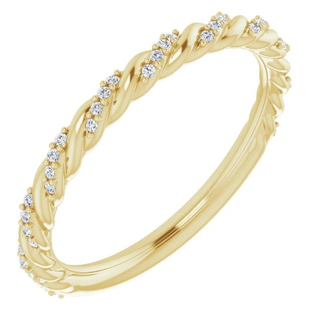 Diamond Pave' Stackable Anniversary Band in Yellow Gold-ST122680