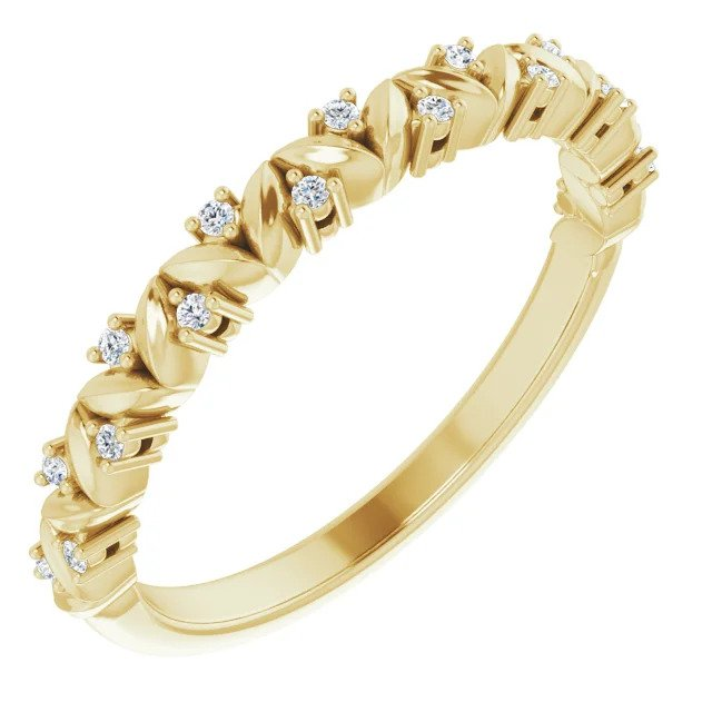 Yellow Gold and Diamond Leaf Stackable Ring-ST123703
