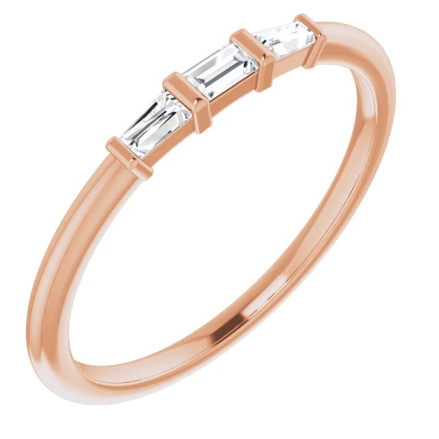 Rose Gold Baguette Three Stone Stackable Ring-ST123714 - Jewelry by Johan