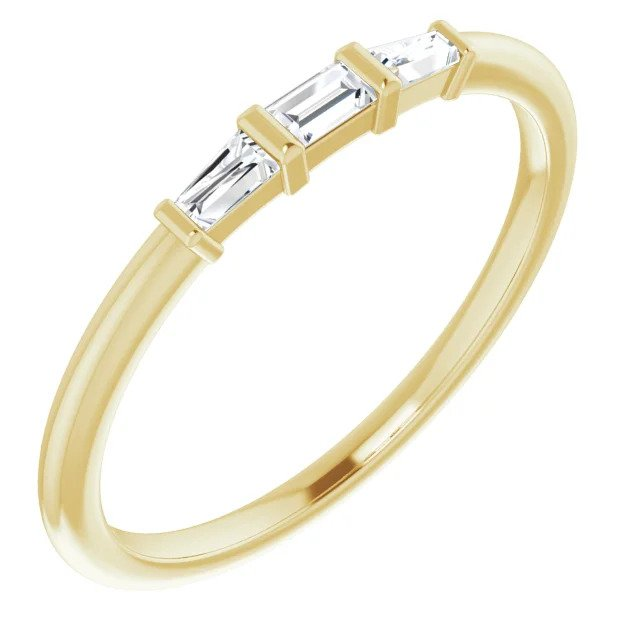 Yellow Gold Baguette Three Stone Stackable Ring-ST123714 - Jewelry by Johan