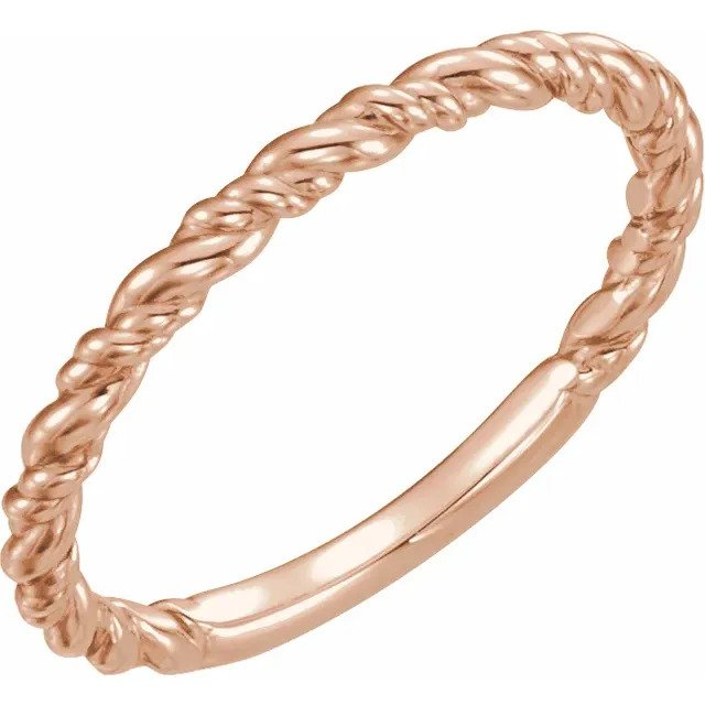 Rose Gold All-Metal Stackable Rope Ring-ST51570 - Jewelry by Johan