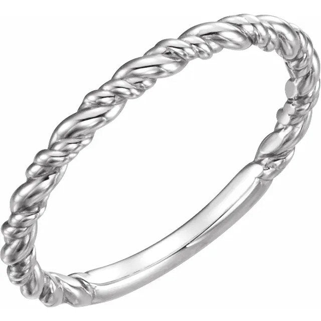 White Gold All-Metal Stackable Rope Ring-ST51570