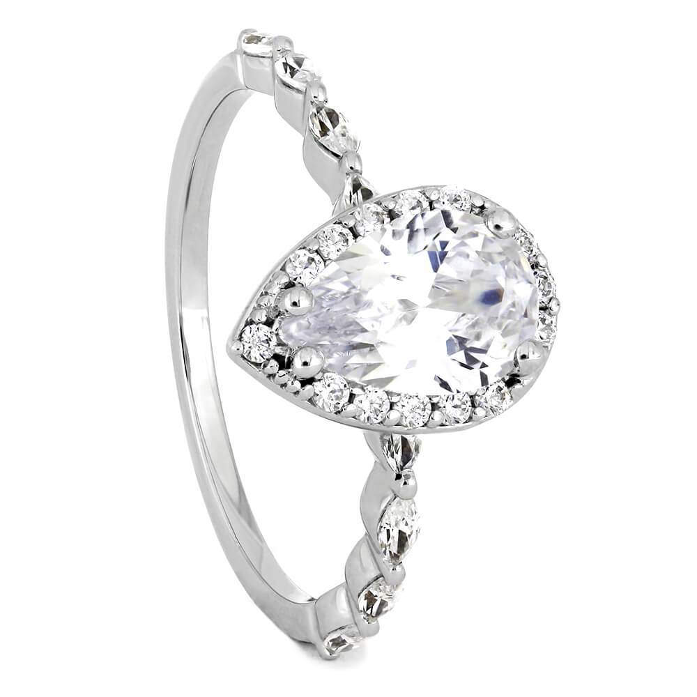 White Gold Pear Cut Halo Diamond Engagement Ring-ST670-28D - Jewelry by Johan