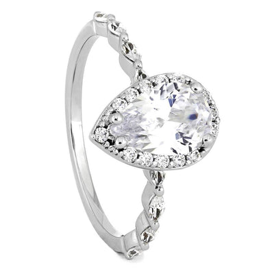 Pear Shaped Diamond Engagement Ring with Thin Diamond Band