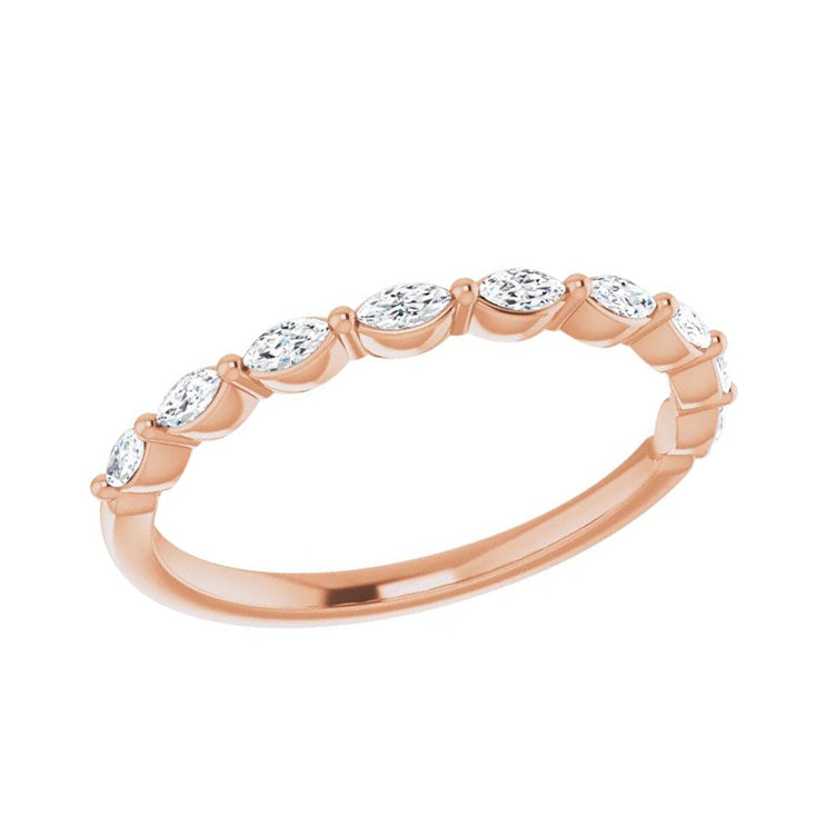 Rose Gold Marquise Cut Women's Wedding Band-ST670-BRG - Jewelry by Johan