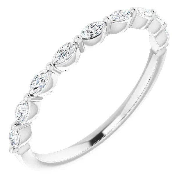 White Gold Marquise Wedding or Anniversary Band-ST670-BWG - Jewelry by Johan