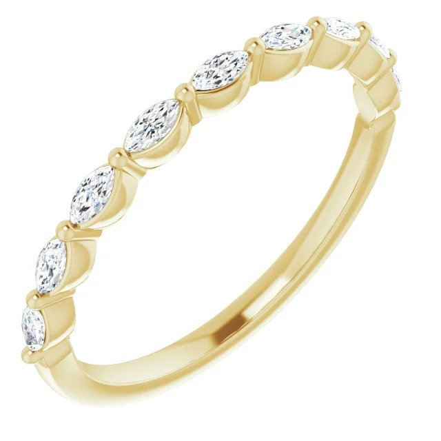 Yellow Gold Marquise Wedding or Anniversary Band-ST670-BYG - Jewelry by Johan