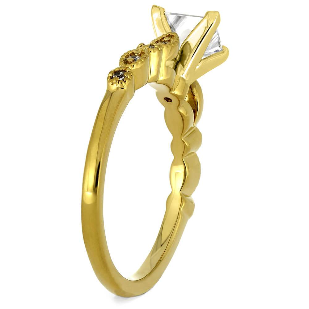 Yellow Gold Engagement Ring With Square Cut Diamond Jewelry By Johan