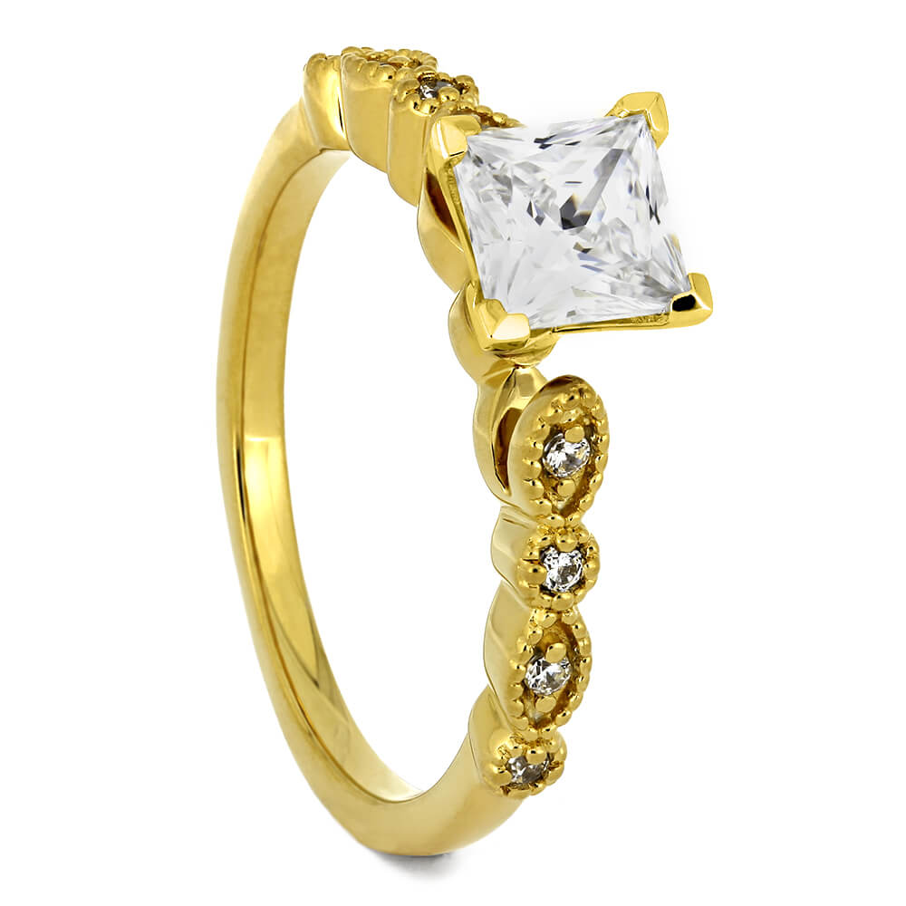 Vintage Style Yellow Gold Engagement Ring with Square Cut Diamond-ST671-17D - Jewelry by Johan
