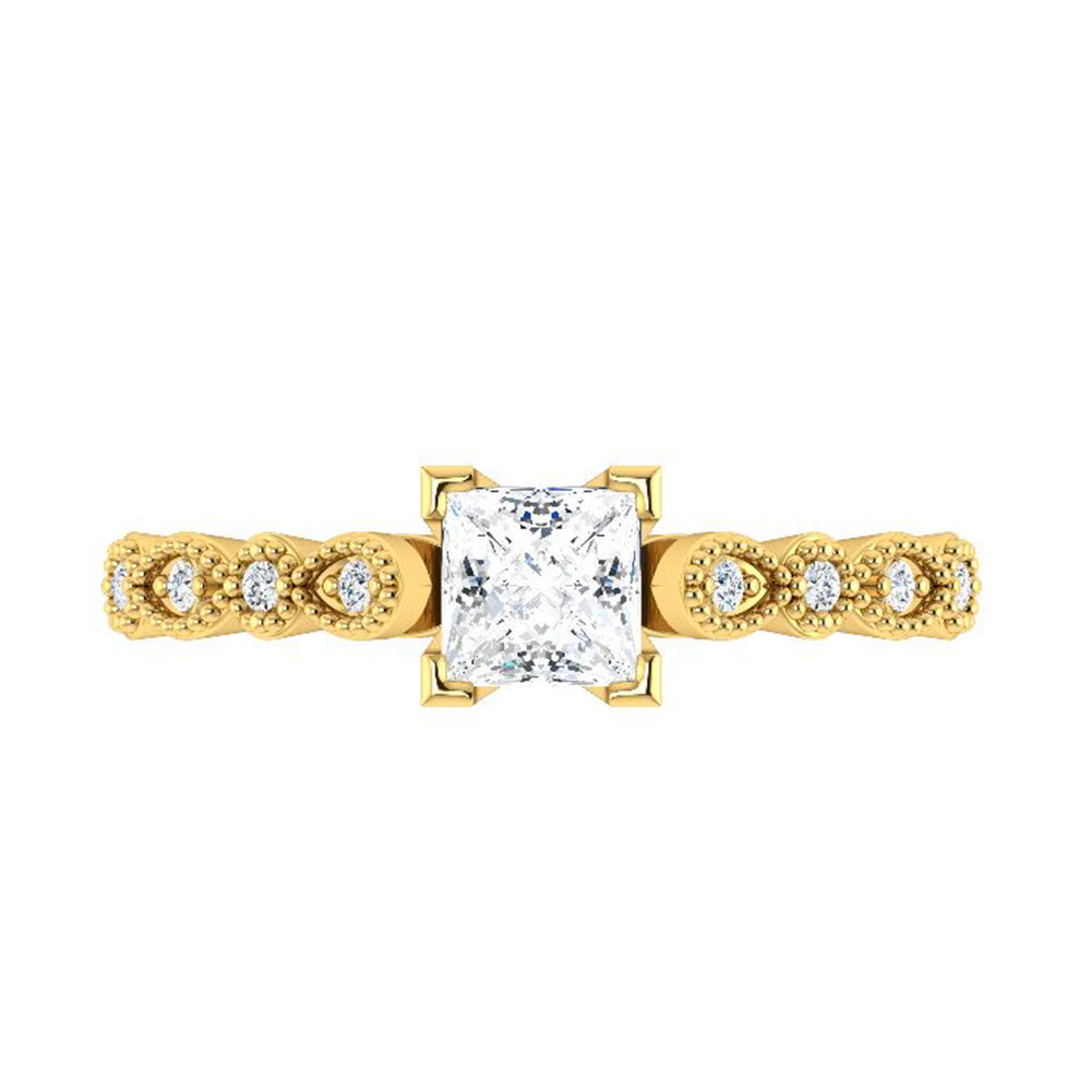 Vintage Style Princess Cut Diamond Engagement Ring Diamond-ST671-17D - Jewelry by Johan