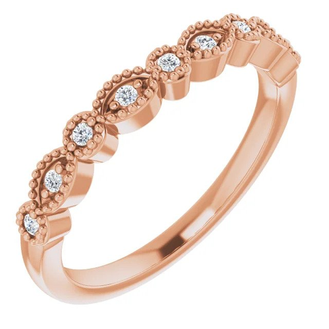 Rose Gold Vintage Style Diamond Wedding Band-ST671-BRG - Jewelry by Johan