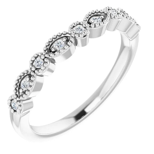 White Gold Vintage Style Diamond Wedding Band-ST671-BWG - Jewelry by Johan