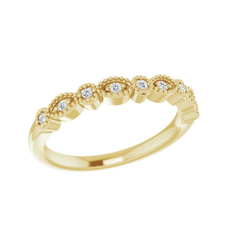 Yellow Gold Vintage Style Diamond Wedding Band-ST671-BYG - Jewelry by Johan