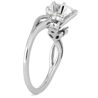Women's White Gold Engagement Ring with Vintage Style
