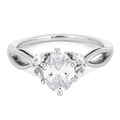 Marquise Diamond Accent Stones with Oval Center Stone