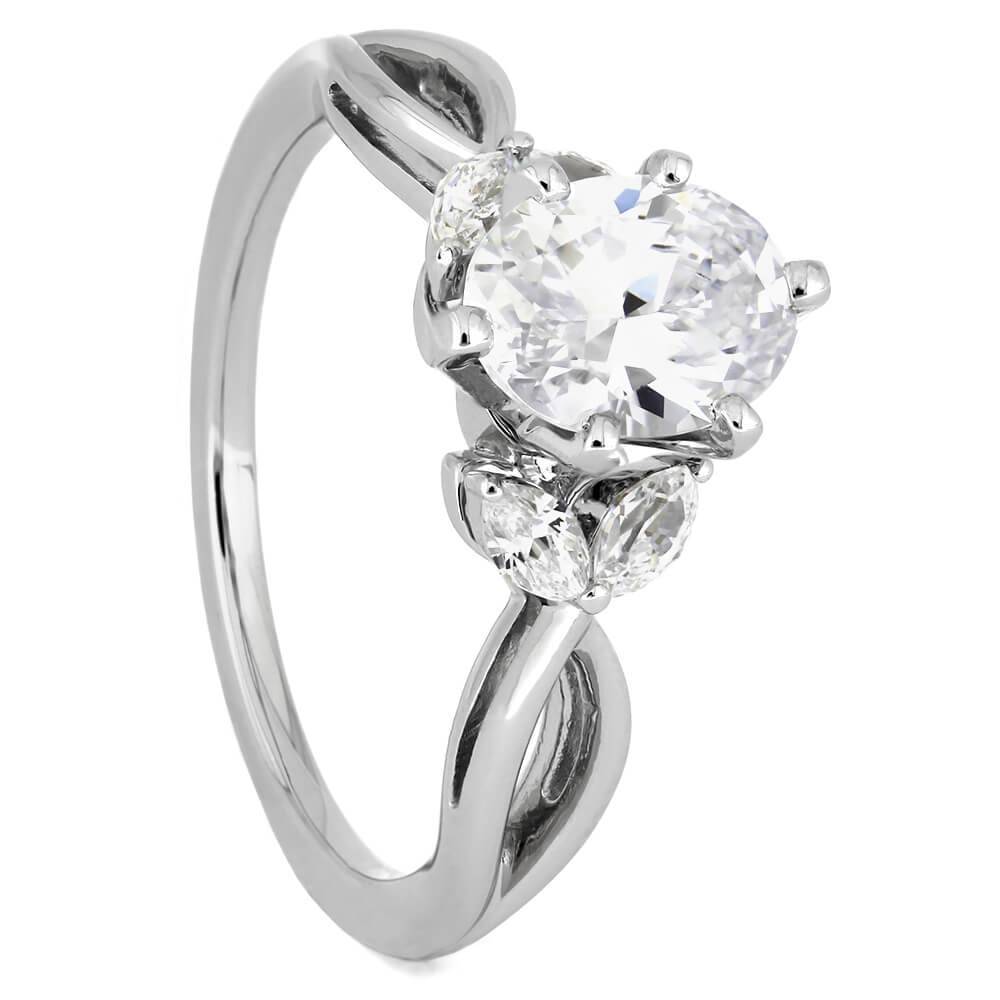 Oval Diamond Engagement Ring With Leaf Accented Band-ST676-13D - Jewelry by Johan