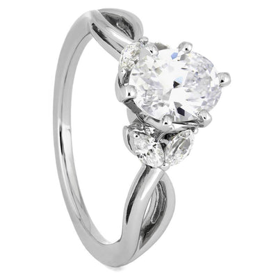 Oval Diamond Engagement Ring with Floral Marquise Accent Stones