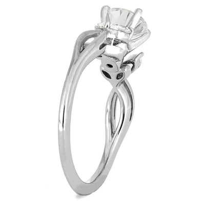 Women's Moissanite Engagement Ring with Marquise Diamond Accent Stones