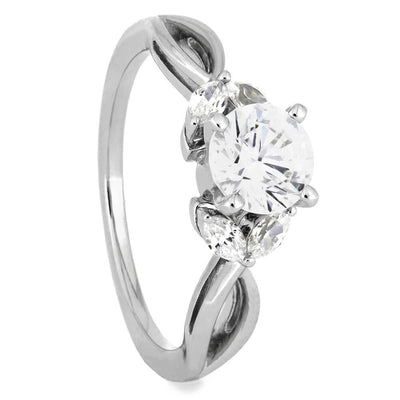 Round Cut Moissanite and Diamond Engagement Ring in White Gold-ST676-3M - Jewelry by Johan
