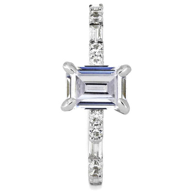 Emerald Cut Moissanite Engagement Ring in White Gold