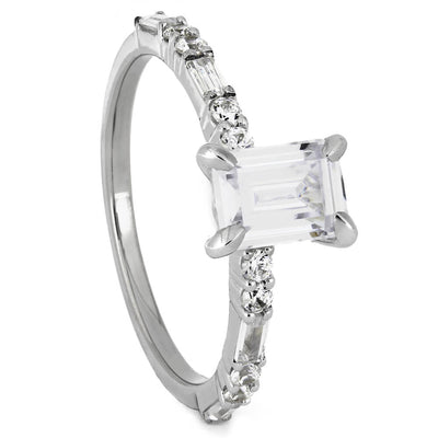 Emerald Cut Moissanite Engagement Ring with Diamond Accent Stones