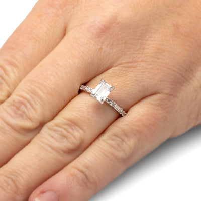 Rectangle Engagement Ring in White Gold