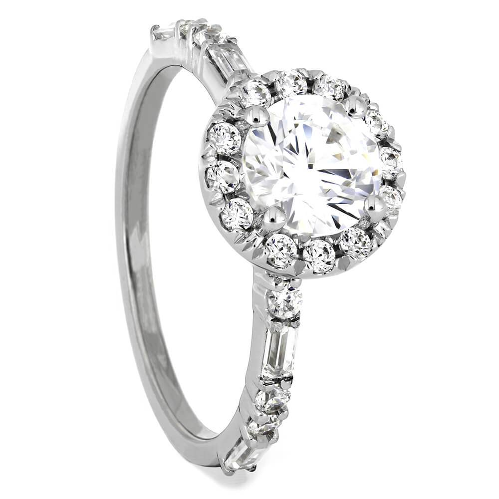 Round Cut Forever One Moissanite Halo Engagement Ring-ST685-31M - Jewelry by Johan