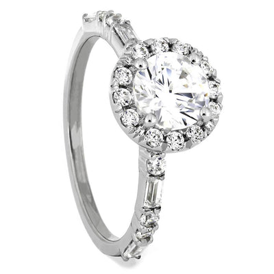 Large Round Moissanite Engagement Ring with 20 Diamond Accent Stones