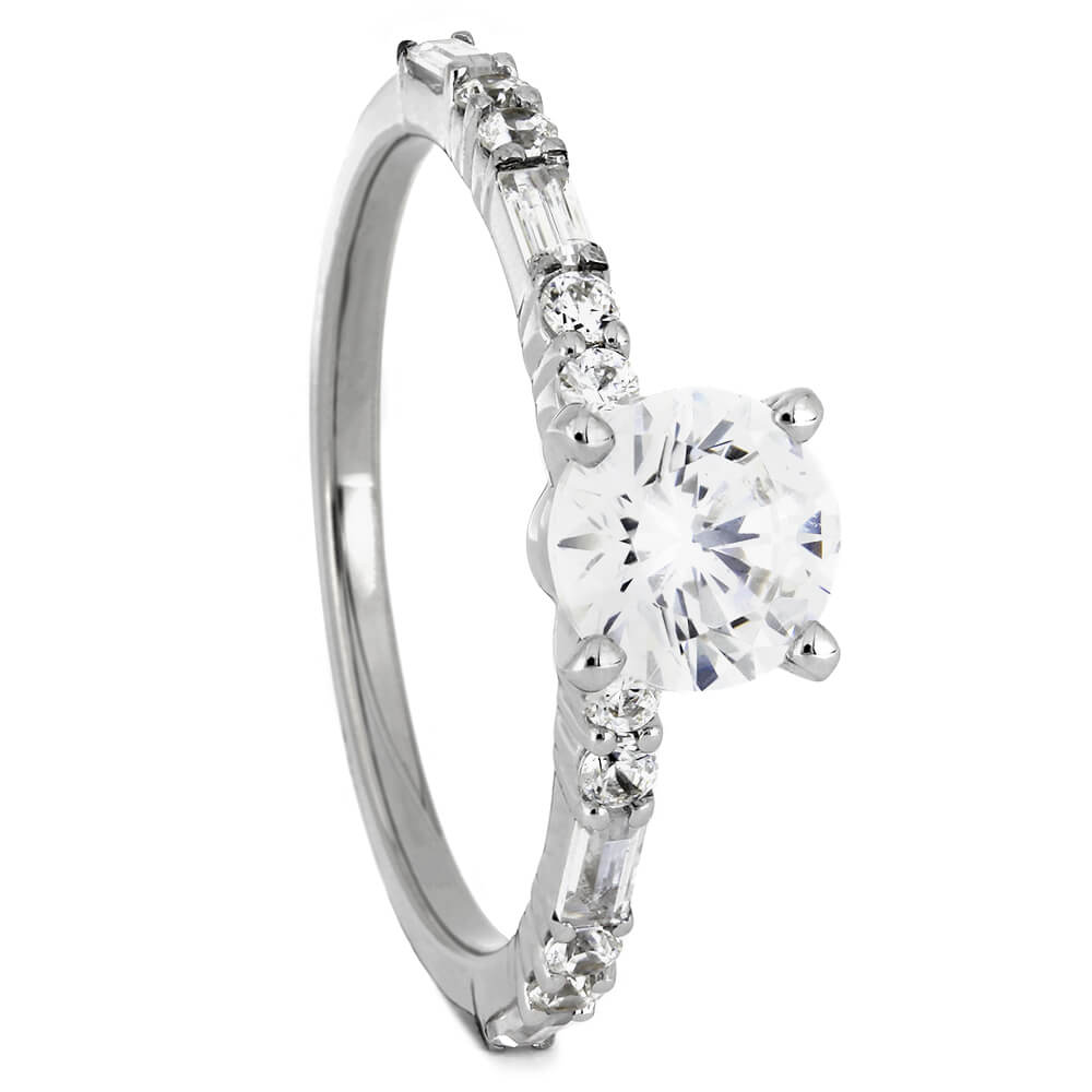 Round Cut Forever One Moissanite Engagement Ring-ST685-3M - Jewelry by Johan