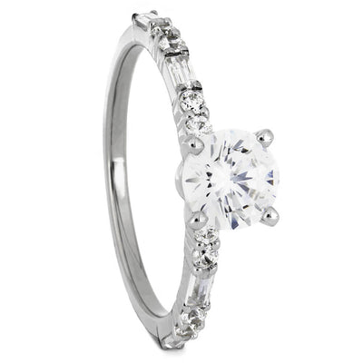 Round Cut Diamond Engagement Ring with Multistone Band