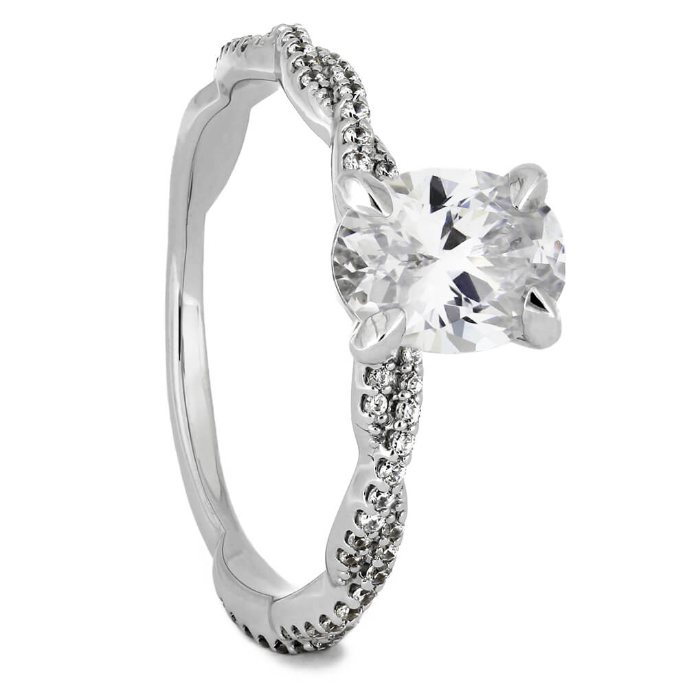 Oval Cut Diamond Engagement Ring in White Gold Twist Band-ST697-20D - Jewelry by Johan