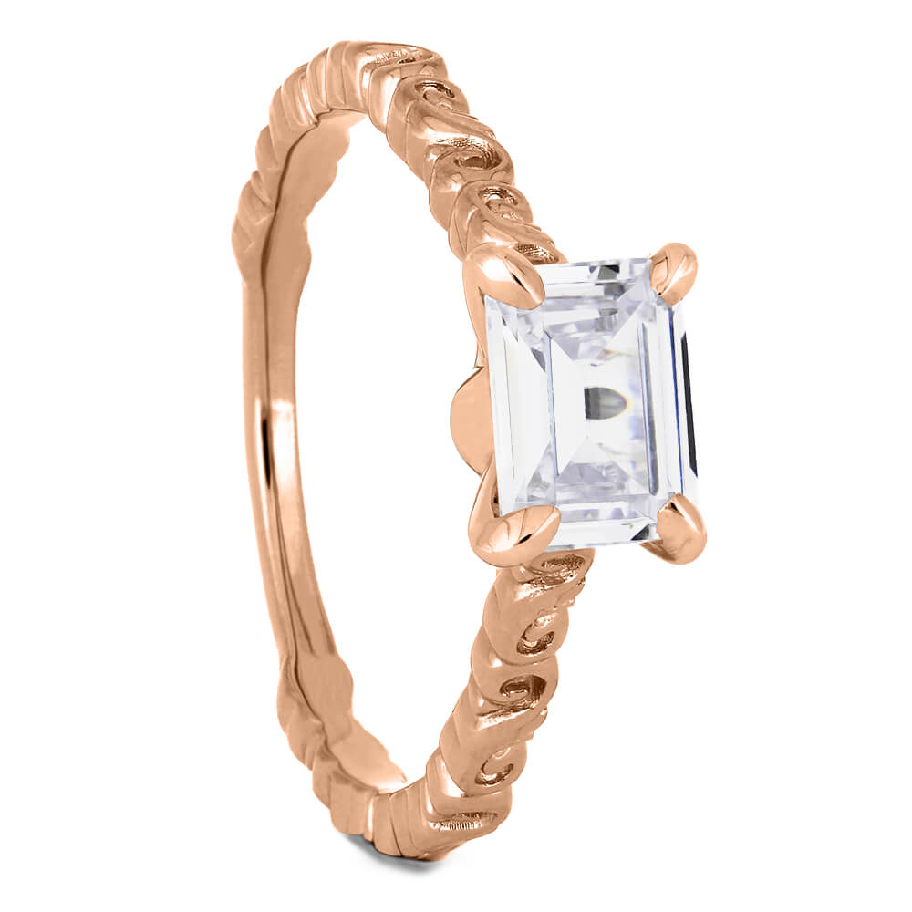 Emerald Cut Moissanite Engagement Ring in Rose Gold