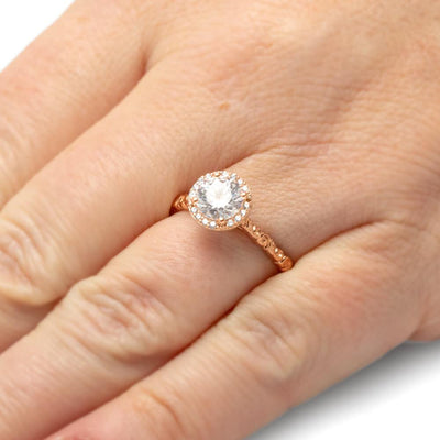Rose Gold Moissanite Halo Engagement Ring With Swirled Band-ST699-25M - Jewelry by Johan