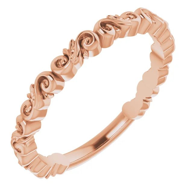 Unique Swirled Women's Rose Gold Band-ST699-BRG