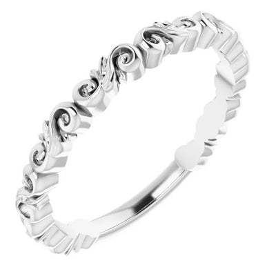 Swirled Women's White Gold Band-ST699-BWG - Jewelry by Johan
