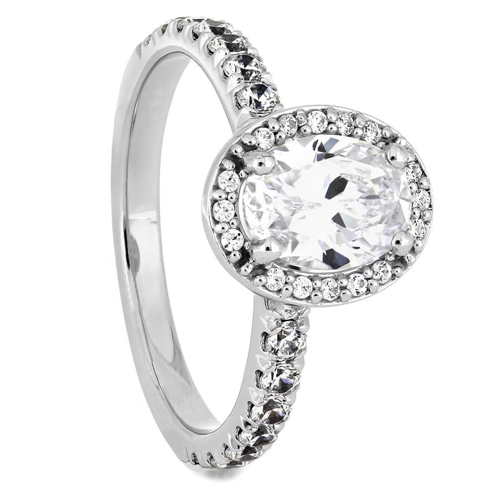 White Gold Oval Cut Diamond Halo Engagement Ring-ST706-29D - Jewelry by Johan
