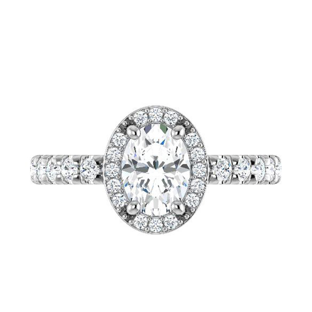 Oval Cut Diamond Halo Engagement Ring-ST706-29D - Jewelry by Johan