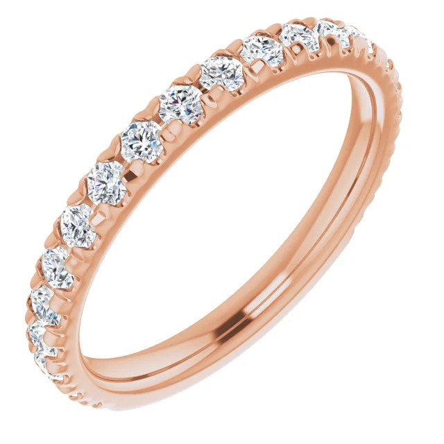 Rose Gold French Set Wedding Band-ST706-BRG - Jewelry by Johan