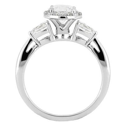 White Gold Engagement Ring with Moissanite and Diamonds