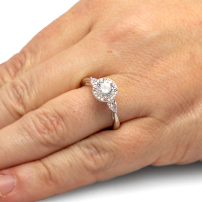 White Gold Moissanite Halo Engagement Ring With Diamond Accents-ST711-25M - Jewelry by Johan