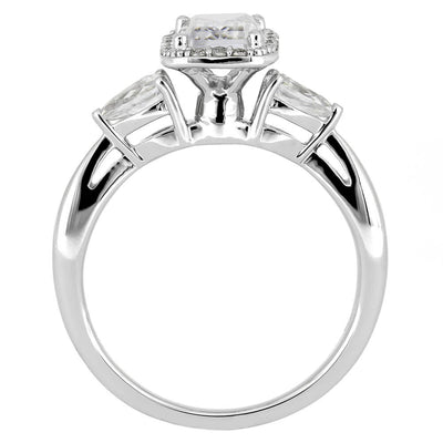 White Gold Engagement Ring with Emerald Cut Moissanite