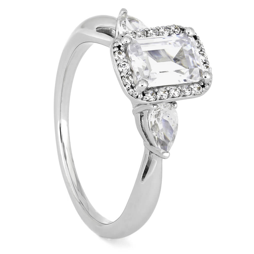 Emerald Cut Moissanite Halo Engagement Ring With Diamond Accents-ST711-27M - Jewelry by Johan