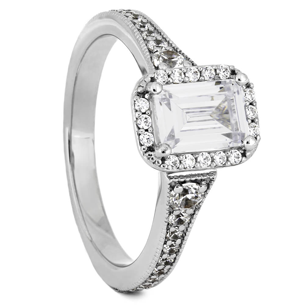 Emerald Cut Moissanite Halo Engagement Ring-ST725-27M - Jewelry by Johan