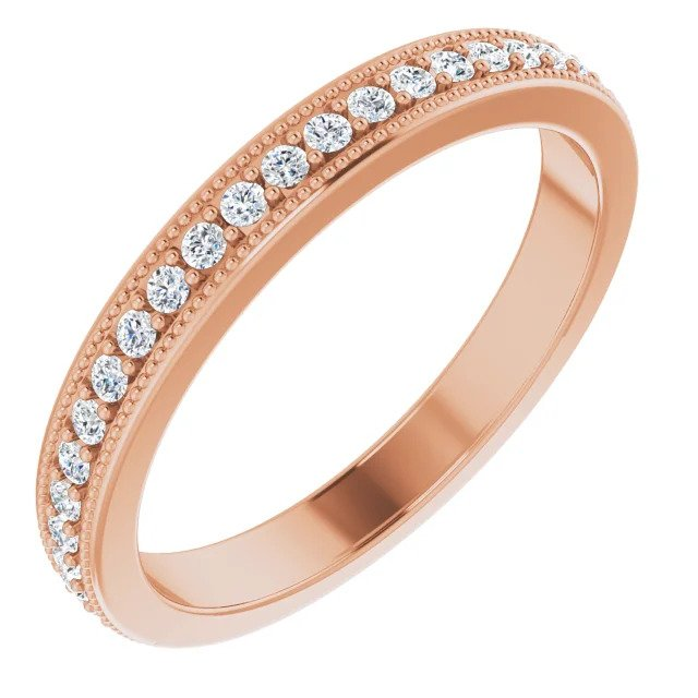 Rose Gold Milgrain Edge Wedding Band-ST725-BRG - Jewelry by Johan