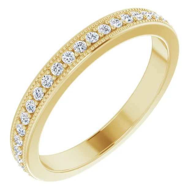 Milgrain Edge Wedding Band in Yellow Gold-ST725-BYG - Jewelry by Johan