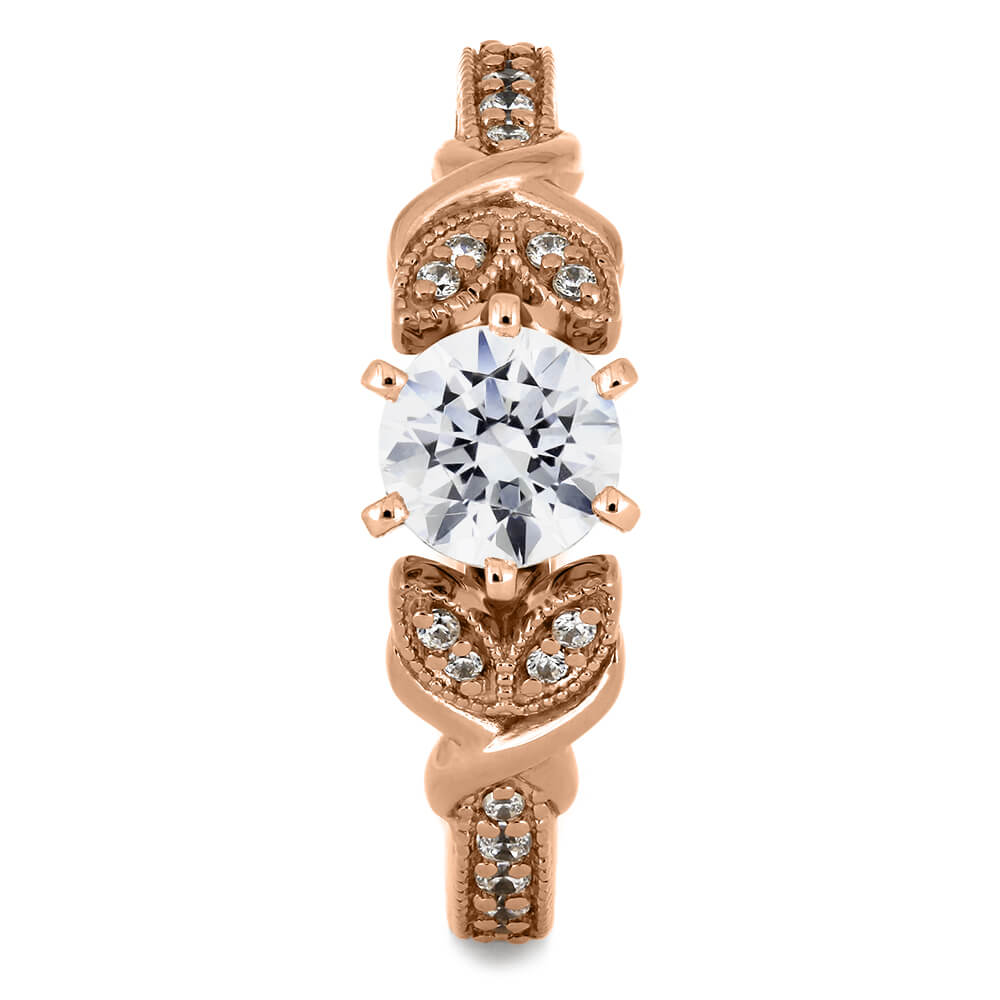 Rose Gold Moissanite Engagement Ring With Leaf Band Jewelry By Johan