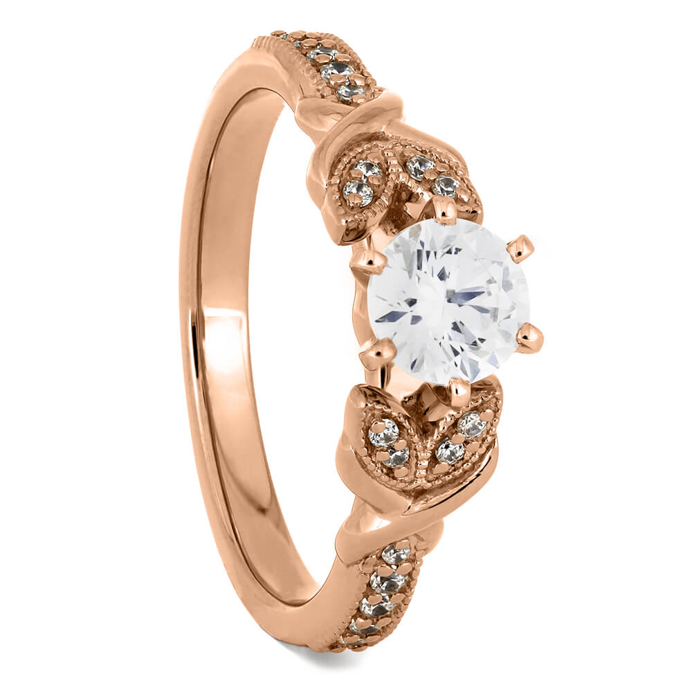 Rose Gold Moissanite Engagement Ring With Leaf Accented Band-ST733-8M - Jewelry by Johan