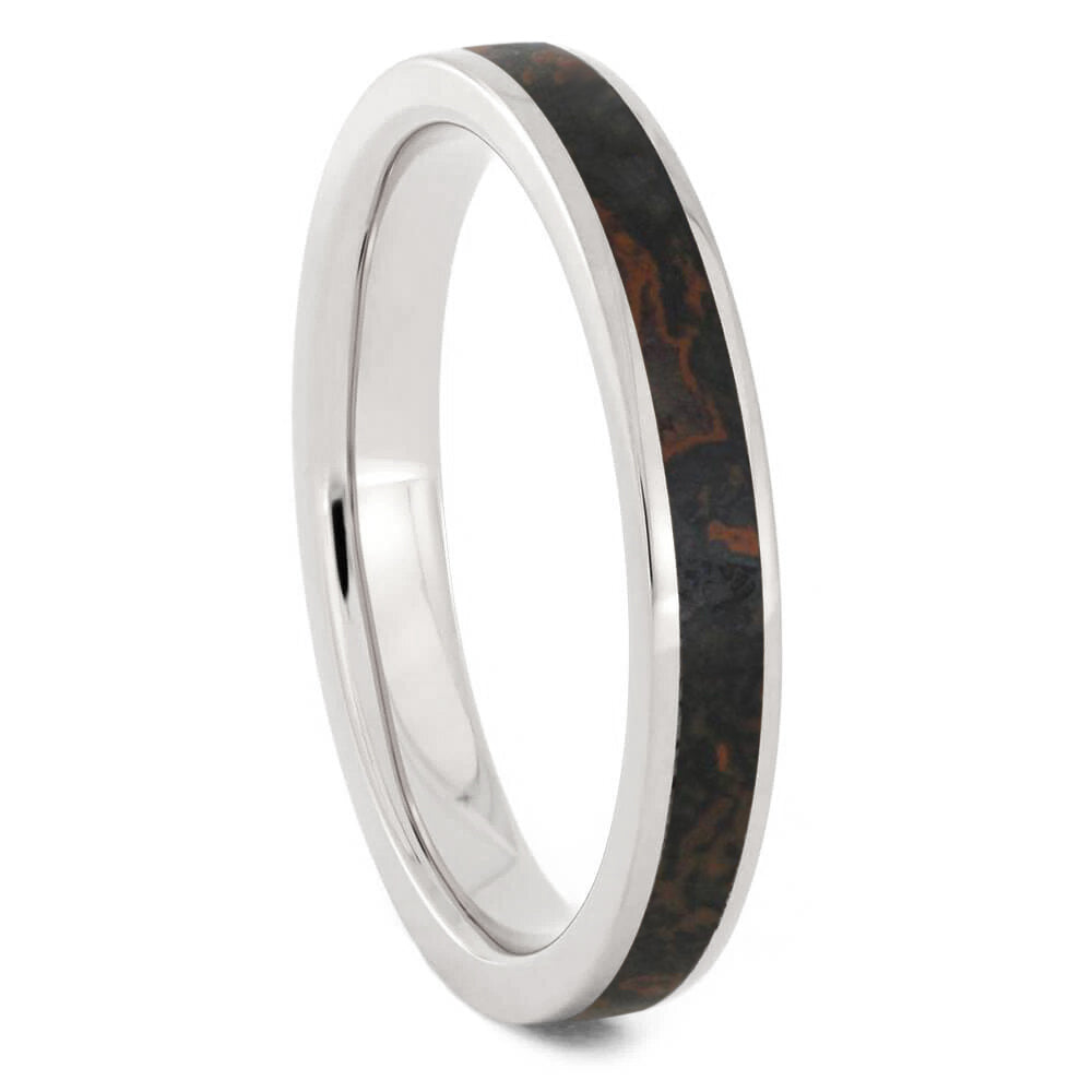 Thin Dinosaur Bone Wedding Band In Titanium, In Stock-SIG3025 - Jewelry by Johan